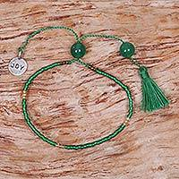 Beaded quartz bracelet, 'Green Joy' - Green Glass Bead Bracelet with Joy Charm Green Quartz Stones