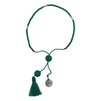 Green Glass Bead Bracelet with Joy Charm Green Quartz Stones