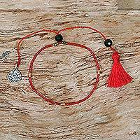 Onyx beaded bracelet, 'Red Lotus Charm' - Red Glass Beaded Bracelet Onyx Sterling Silver Indonesia