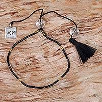 Quartz beaded bracelet, 'Hope Charm in Black' - Black Quartz Sterling Silver Glass Beaded Bracelet Indonesia