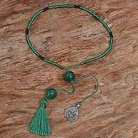 Quartz beaded bracelet, 'Nature's Love' - Bali Green Quartz Beaded Bracelet with a Silver Heart Charm
