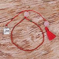 Beaded rose quartz bracelet, 'Red Joy' - Red Glass Bead Bracelet with Joy Charm Rose Quartz Stones