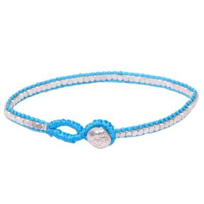 Beaded Hand Knotted Sterling Silver Bracelet in Turquoise