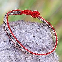Sterling silver beaded bracelet, 'Shimmering Path in Red' - Red Artisan Crafted Sterling Silver Beaded Bracelet