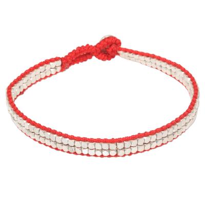 Sterling silver beaded bracelet, 'Shimmering Path in Red' - Red Artisan Crafted Sterling Silver Beaded Bracelet