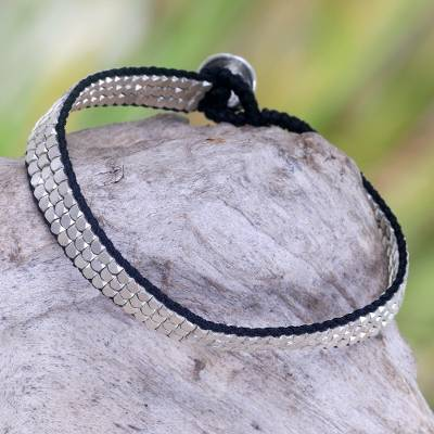 Sterling silver beaded bracelet, 'Shimmering Road in Black' - Artisan Crafted Sterling Silver and Nylon Beaded Bracelet