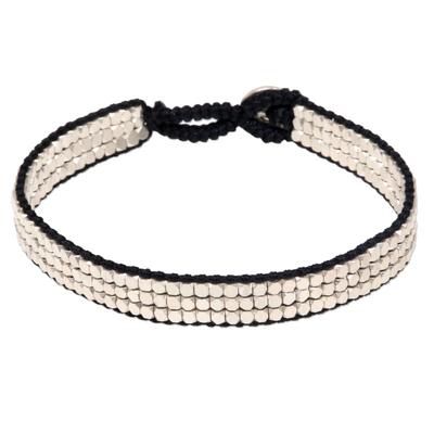 Sterling silver beaded bracelet, 'Shimmering Road in Black' - Artisan Crafted Sterling Silver and Nylon Beaded Bracelet