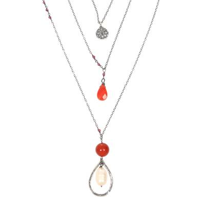 Carnelian and cultured pearl triple pendant necklace, 'Gift of the Lotus' - Multigem Sterling Silver Triple Pendant Necklace