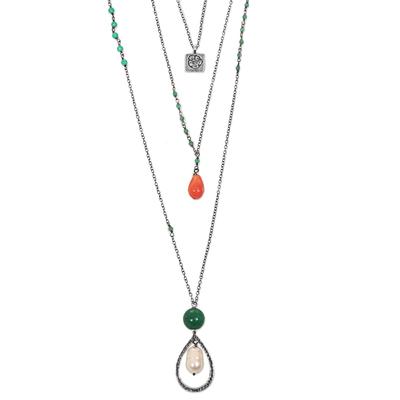 Multi-gemstone pendant necklace, 'Frangipani Beauty' - Pearl Quartz Carnelian 3 Chain Pendant Necklace Indonesia