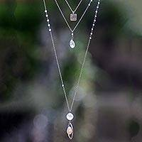 Rose quartz and cultured pearl triple pendant necklace, 'Gift of Joy' - Rose Quartz Sterling Silver Pearl Triple Pendant Necklace