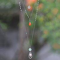 Multi-gemstone triple pendant necklace, 'Joy and Beauty' - Sterling Silver 3-in-1 Multigem Pendant Necklace