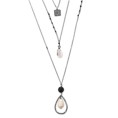 Multi-gemstone pendant necklace, 'Floral Beauty' - Pearl Quartz Onyx 3 Chain Pendant Necklace Indonesia