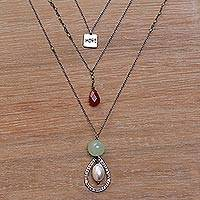 Multi-gemstone pendant necklace, 'Harmonious Colors'