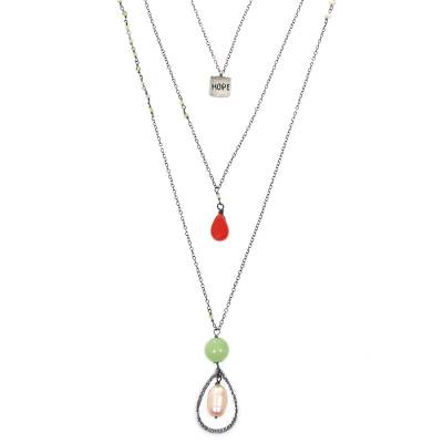 Multi-gemstone pendant necklace, 'Harmonious Colors' - Multi-Pendant Necklace with Peridot Aventurine and Pearl
