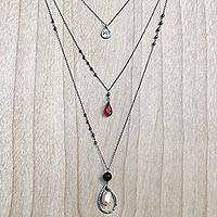 Multi-gemstone cultured pearl pendant necklace, 'Triple-Layered Joy' - Multigem Cultured Pearl Onyx Pendant Necklace Indonesia