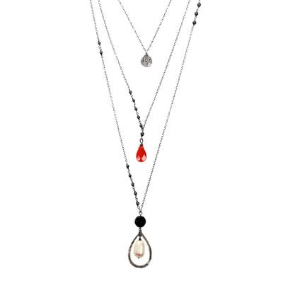 Multi-gemstone cultured pearl pendant necklace, 'Triple-Layered Joy' - Multigem Cultured Pearl Onyx Pendant Necklace Indonesia