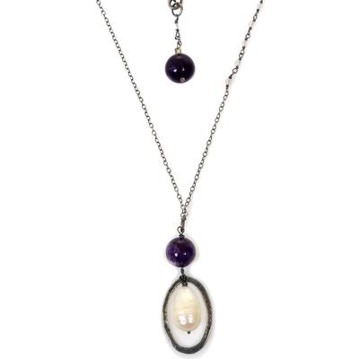 Multi-gemstone pendant necklace, 'Purple Raindrops' - Cultured Pearl Sterling Silver Pendant Necklace Indonesia