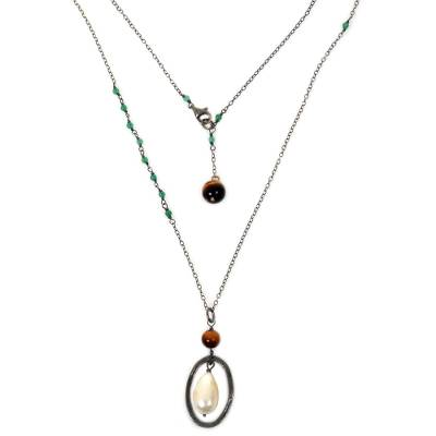 Cultured pearl and tiger's eye pendant necklace, 'Silent Hunter' - Cultured Pearl and Tiger's Eye Pendant Necklace Indonesia