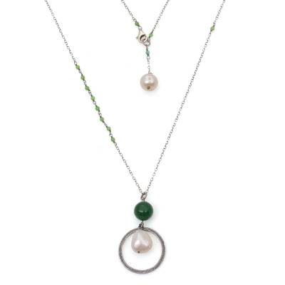Cultured pearl and quartz long pendant necklace, 'Green Family' - Indonesian Cultured Pearl and Green Quartz Pendant Necklace
