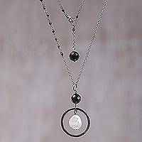 Cultured pearl and onyx pendant necklace, 'Source of Happiness' - Cultured Pearl and Black Onyx Pendant Necklace from Bali
