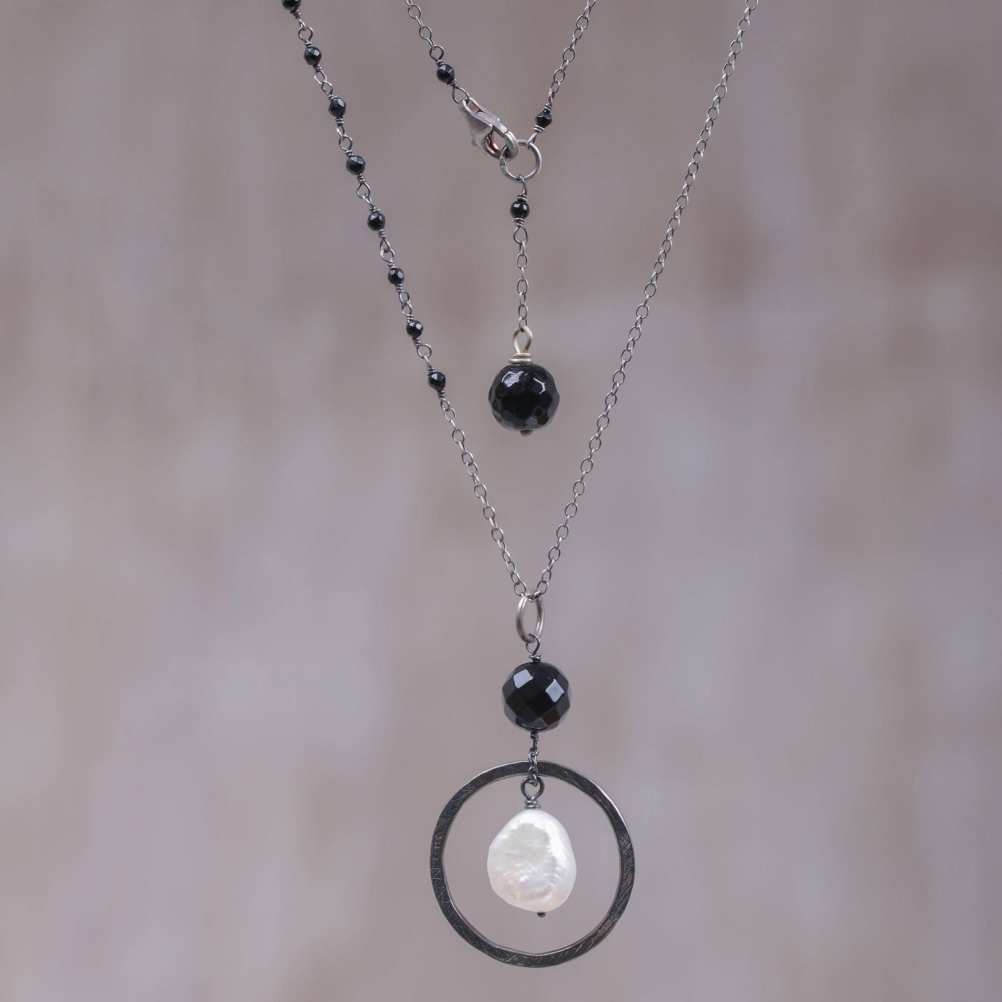 Cultured Pearl and Black Onyx Pendant Necklace from Bali The Perfect Necklace