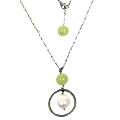 Multi-gemstone pendant necklace, 'Green Rain' - Cultured Pearl Chalcedony Pendant Necklace from Indonesia