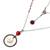 Cultured pearl pendant necklace, 'Red Rain' - Cultured Pearl Garnet Pendant Necklace from Indonesia (image 2d) thumbail