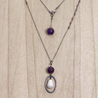 Amethyst and cultured pearl pendant necklace, Violet Dew