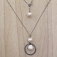 Cultured pearl and moonstone long pendant necklace, 'Raindrop Halos'