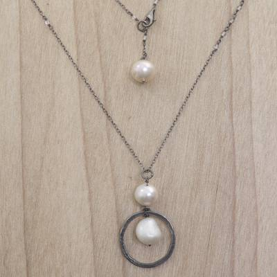 Cultured pearl and moonstone long pendant necklace, 'Raindrop Halos' - Cultured Pearl Moonstone Pendant Necklace from Indonesia