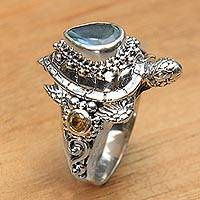 Featured review for Multi gemstone cocktail ring, Sea Turtle Enchantment