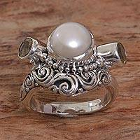 Cultured pearl and citrine cocktail ring, 'Moon Mystery'