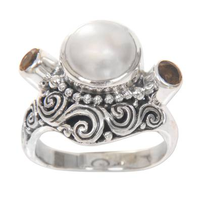 Cultured pearl and citrine cocktail ring, 'Moon Mystery' - Balinese Silver Ring with Cultured Pearl and Citrine Gems