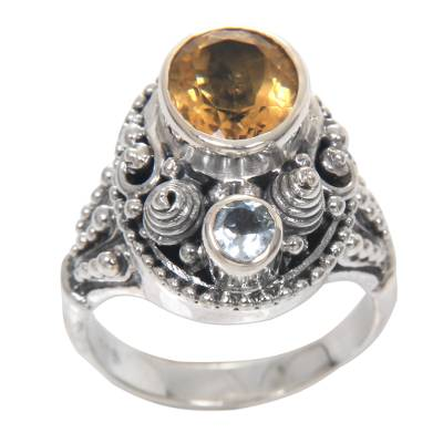 Ornate Sterling Silver Balinese Blue Topaz and Citrine Ring