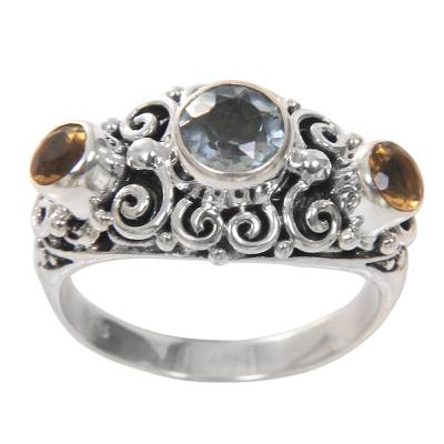 Citrine and blue topaz cocktail ring, 'Spirit of the Islands' - Balinese Citrine Sterling Silver and Blue Topaz Ring