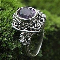 Amethyst cocktail ring, 'Orchids and Frangipani' - Sterling Silver Balinese Floral Cocktail Ring with Amethyst