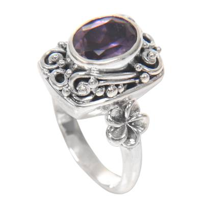 Sterling Silver Balinese Floral Cocktail Ring with Amethyst