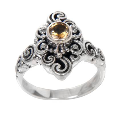 Handcrafted Balinese Citrine Sterling Silver Cocktail Ring