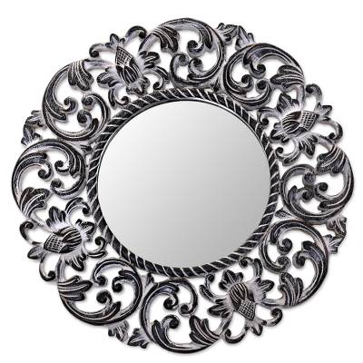 Hand Carved Black Floral 15-Inch Wall Mirror from Bali