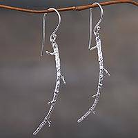 Sterling silver dangle earrings, 'The Root' - Artisan Crafted Sterling Silver Root Dangle Earrings