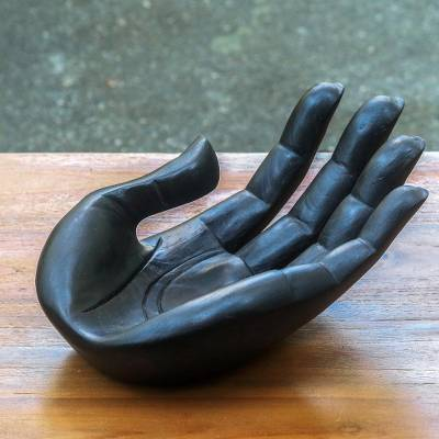 Wood sculpture, 'Thankfulness' - Handcarved Wood Signed Hand Sculpture Catchall