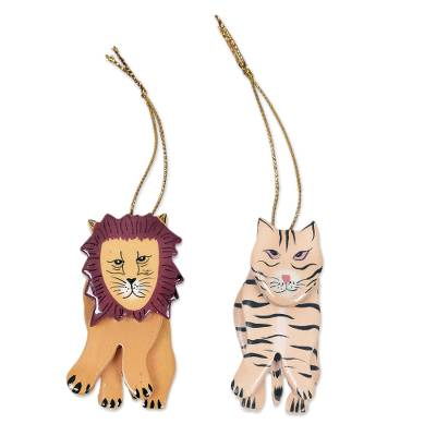 2 Hand Crafted Tiger and Lion Holiday Hanging Ornaments