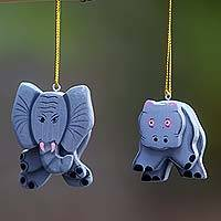 Wood ornaments, 'Hippo and Elephant' (pair) - 2 Hand Crafted Hippo and Elephant Hanging Christmas Ornament
