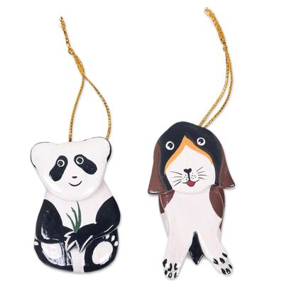 Hand Crafted Dog and Panda Hanging Ornaments Holiday Art