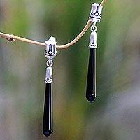 Onyx dangle earrings, 'Black Wand' - Artisan Crafted Onyx and Sterling Silver Dangle Earrings