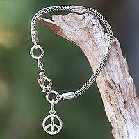 Sterling silver charm bracelet, 'Peaceful Bamboo' - Artisan Crafted Sterling Silver Bracelet with Peace Charm