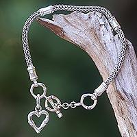 Sterling silver charm bracelet, 'Bamboo Heart' - Balinese Bamboo Motif Sterling Silver Heart Charm Bracelet