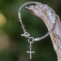 Sterling silver charm bracelet, 'Bamboo Spiritual' - Hand Crafted Sterling Silver Cross Charm Bracelet from Bali