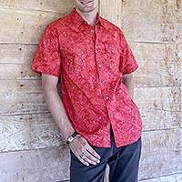 Men's cotton shirt, 'Red Bali Expedition'
