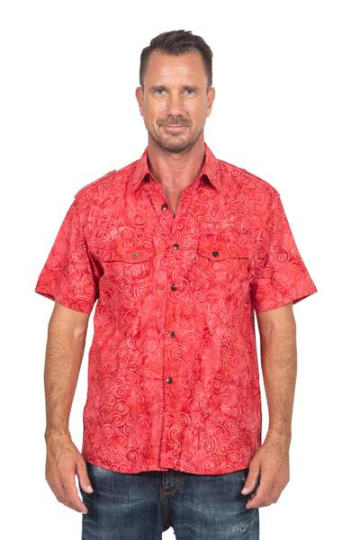 Men's cotton shirt, 'Red Bali Expedition' - Red Cotton Batik Short Sleeve Men's Shirt